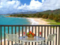 Wailua Bay View romantic private oceanfront lanai overlooking Wailua Beach